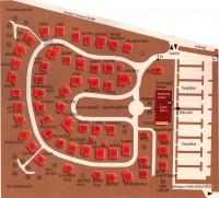 広大な敷地の中に68棟の住宅とガレージ、ショールーム棟などが、住宅地のようにレイアウトされている。